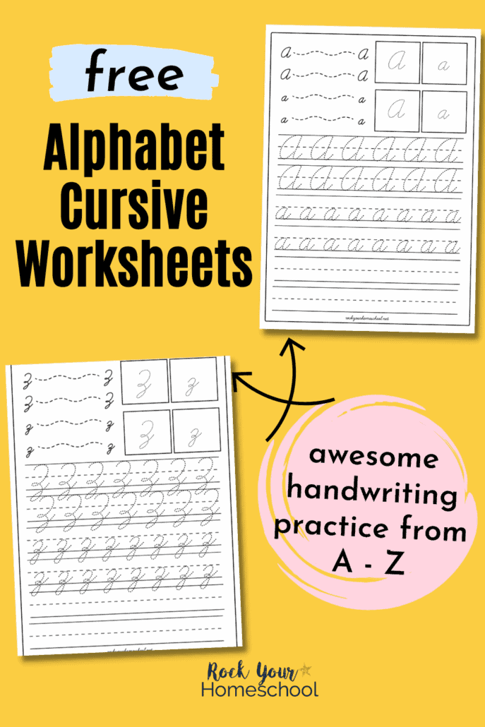 26 Free Alphabet Cursive Worksheets (in a Pack) for Easy Handwriting Practice