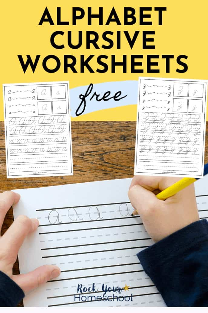 Boy using pencil to write the letter A in cursive and cursive writing worksheets in A and Z to feature the amazing benefits of learning cursive writing and this free pack of 26 alphabet cursive worksheets