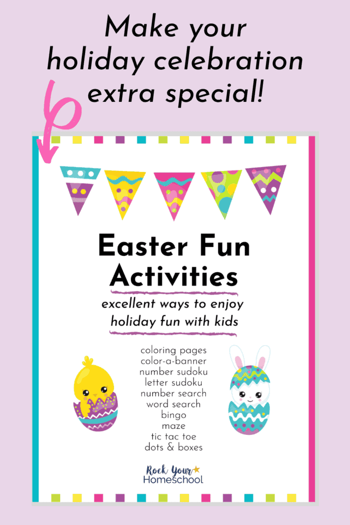 Easter Fun Activities cover to feature how easy it is to use this Easter Activities Pack for a variety of ways to enjoy special holiday fun with your kids