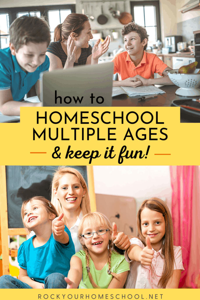 Mom & sons smiling in kitchen as they work on homeschool work and mom with smiling girls in front of chalkboard to feature how you can homeschool multiple ages and keep it fun