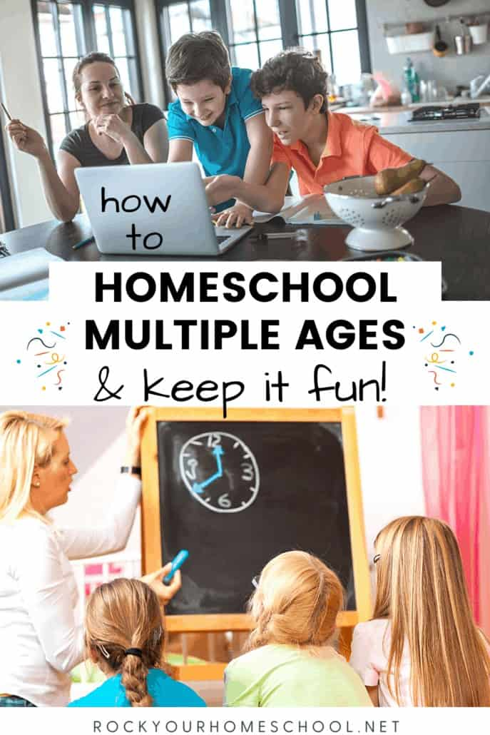 Mom in kitchen with smiling boys in front of laptop and mom using chalkboard to teach telling time to her daughter to feature how you can homeschool multiple ages and keep it fun