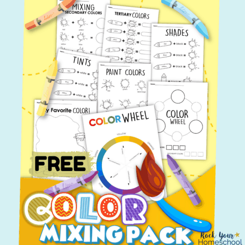 This free color mixing pack is a perfect activity for art fun for kids.