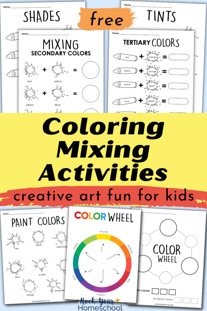 Coloring mixing activities to feature the amazing art fun your kids will have with these free art worksheets