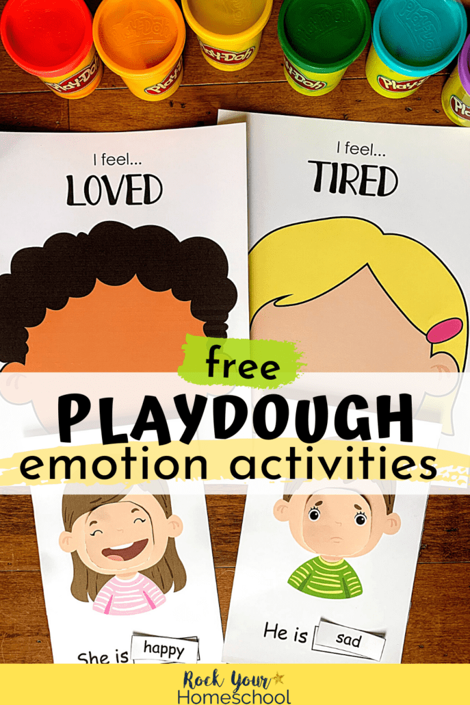 Rainbow of playdough cans with playdough emotions activities to feature how your kids will have a blast using these free playdough printable activities for hands-on ways to learn all about feelings