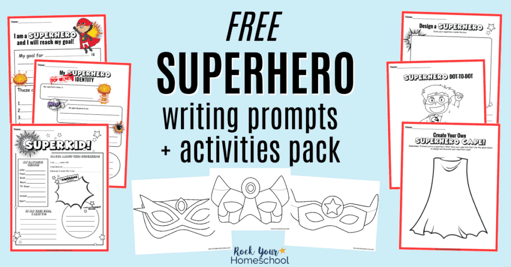 Get this free pack of 10 superhero writing prompts and activities to easily boost creative writing time with your kids.