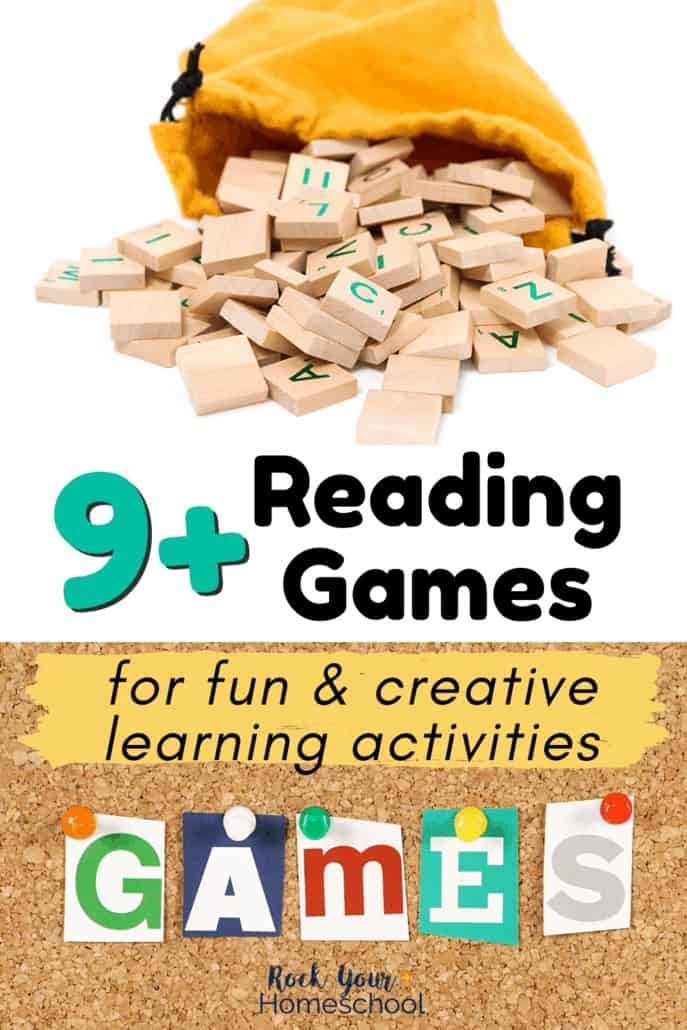 Yellow bag with letter tiles spilling out and corkboard with G-A-M-E-S with colorful pushpins to feature how you can use these 9+ fun reading games for creative learning activities for kids