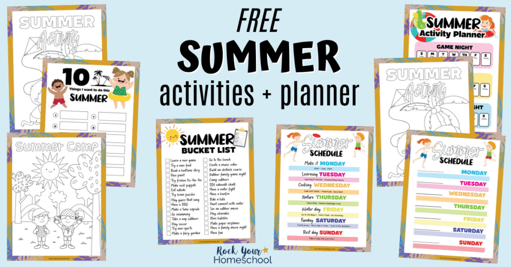 Get this free pack of fun summer activities for kids planner & more to prepare for & enjoy special summer fun.