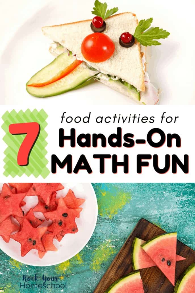 Sandwich with silly face made out of vegetables & slices of watermelon & watermelon cut into star shapes to feature how you can use these 7 fantastic food activities for hands-on math fun for kids