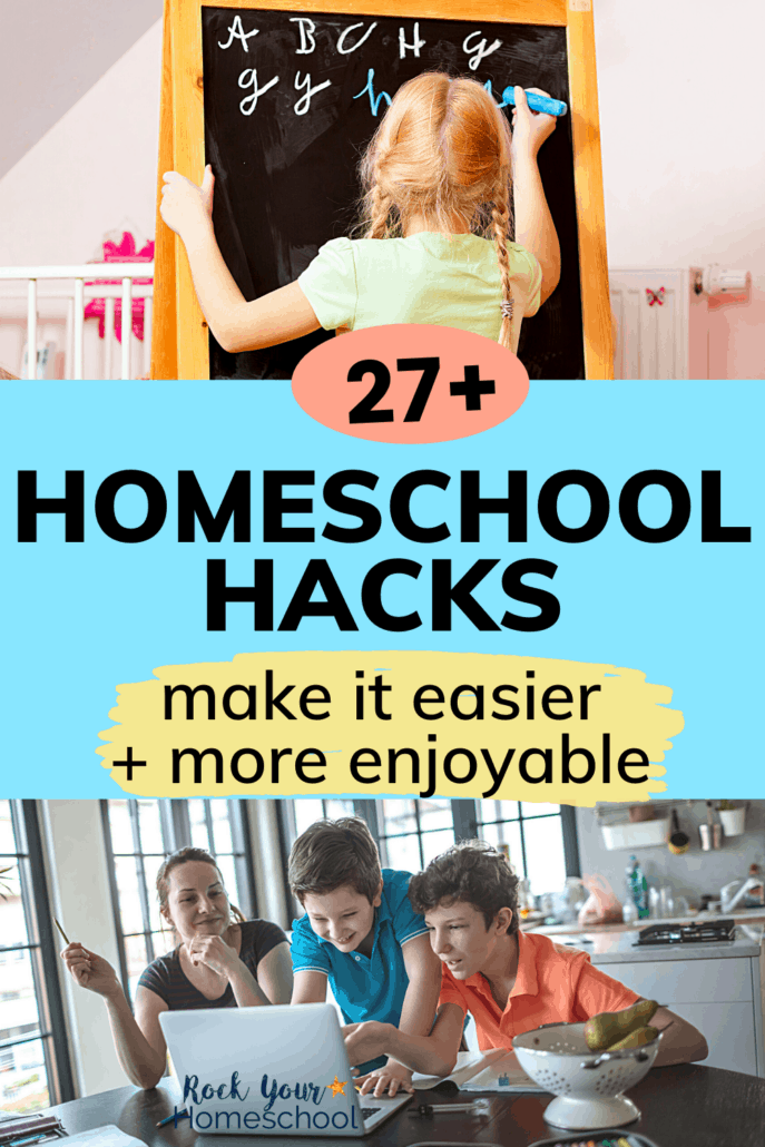 Girl writing on chalkboard with other kids watching and mom with her two sons looking at computer in kitchen to feature how you can use these 27+ homeschool hacks to make it more enjoyable and successful for all