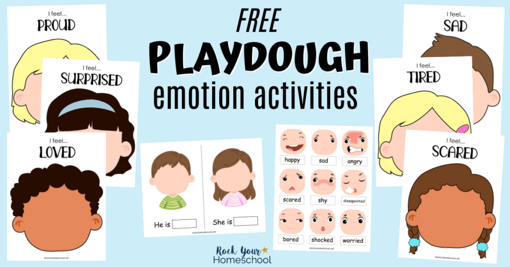 Get this free pack of playdough emotions activities to give your kids fun hands-on ways to learn all about feelings.