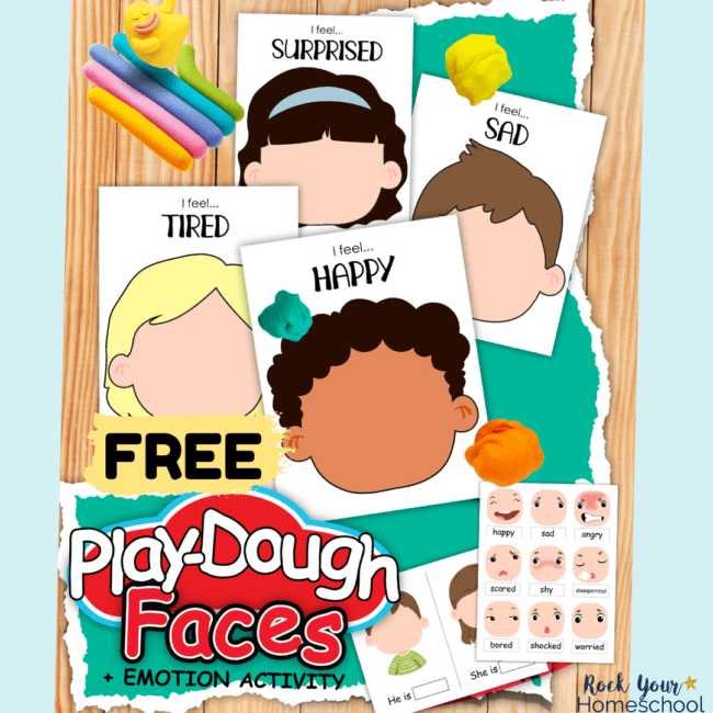 This free pack of playdough emotions activities pack is an amazing way to help your kids learn all about feelings.