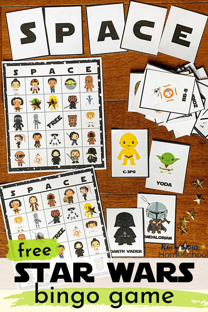 S-P-A-C-E cards with Star Wars bingo game cards and calling cards and gold stars to feature the awesome fun you'll have with this free Star Wars bingo game set