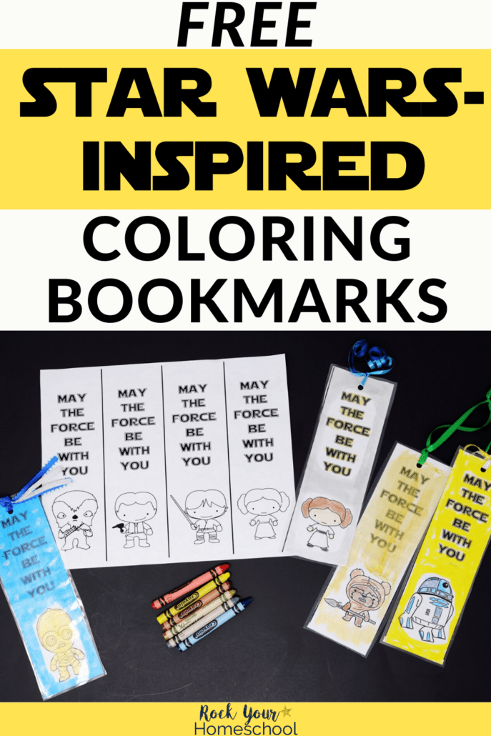 May The Force Be With You coloring bookmarks with cute characters to feature the stellar fun you'll have with these free Star Wars printables & activities