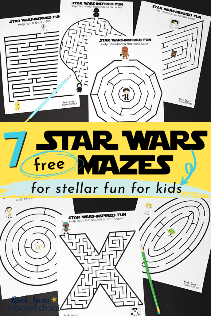 7 Star Wars mazes with cute characters & themes to feature the stellar fun you'll have using these free Star Wars printables for cool activities for kids