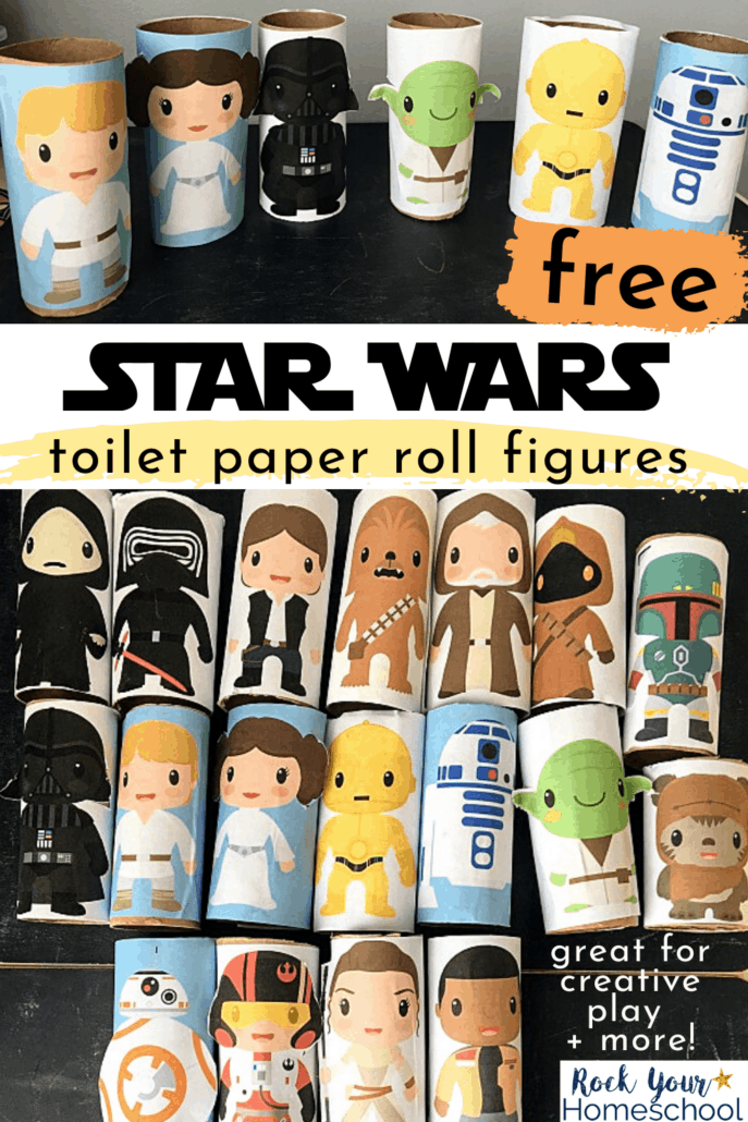Cute Star Wars toilet paper roll figures of Luke, Leia, Darth Vader, Yoda, C-3P0, R2-D2, & more to feature the stellar fun your kids will have playing with these free Star Wars printables