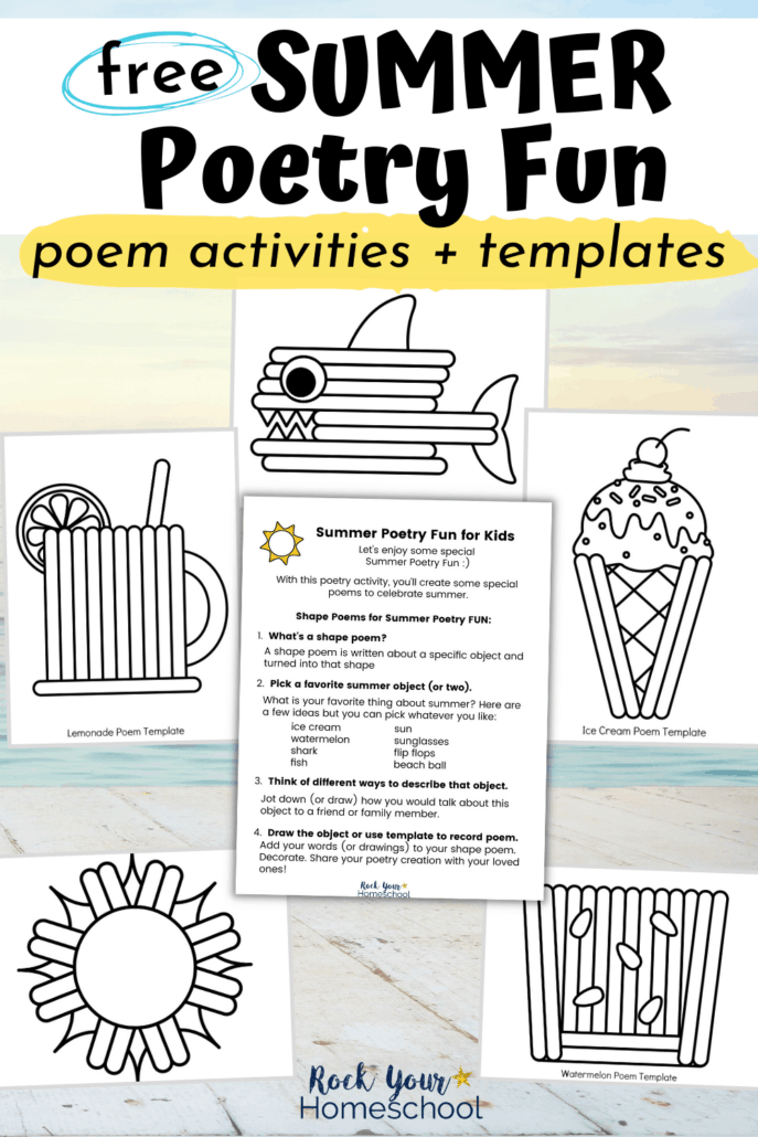Summer Poetry Fun activities for shape poems and templates to feature the fantastic poetry fun you'll have with this free pack of poetry fun for kids activities