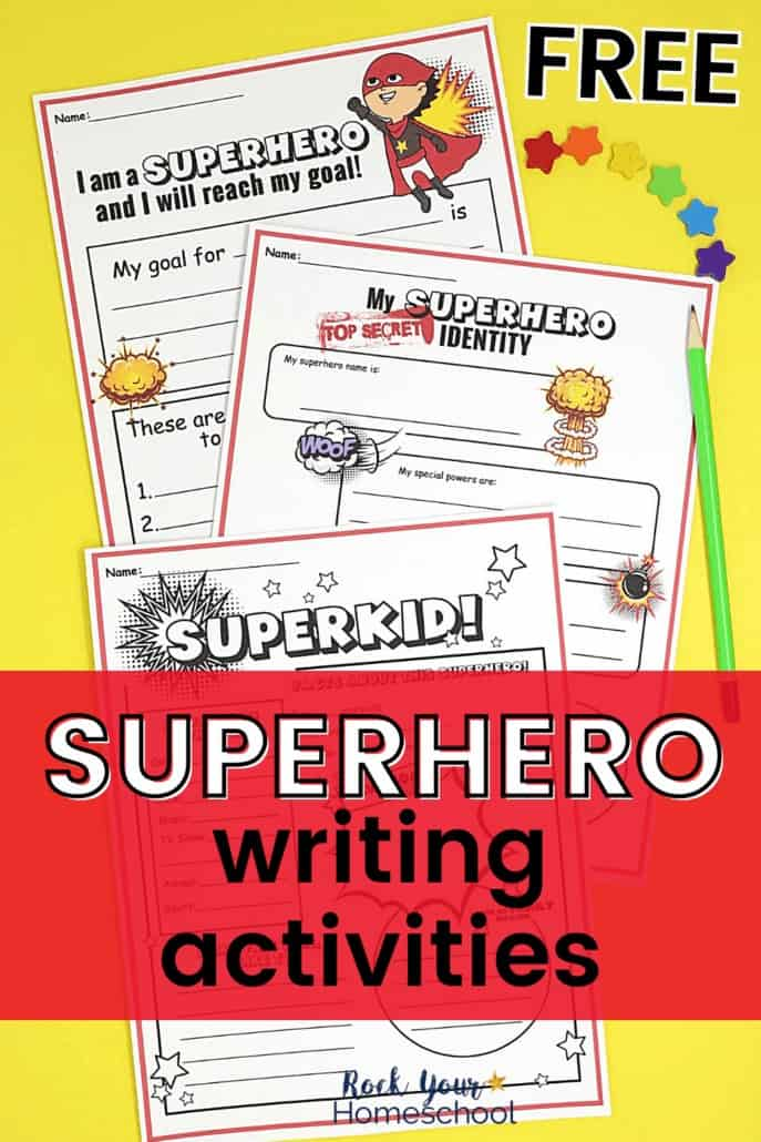 Superhero writing prompts pages with rainbow of star mini-erasers & neon green pencil to feature the fantastic creative fun your kids will have with this free superhero writing prompts & activities pack