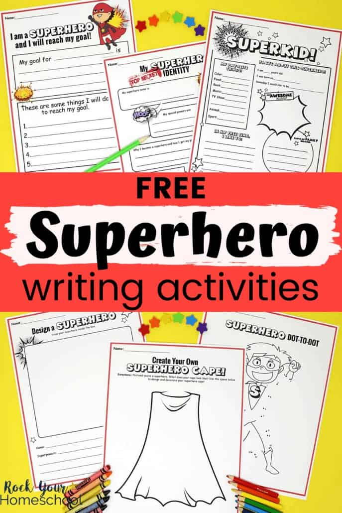 Superhero writing prompts pages and activities with rainbow of star mini-erasers, crayons, & color pencils to feature the fantastic creative fun your kids will have with this free superhero writing prompts & activities pack