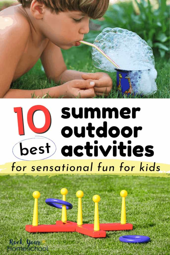 Boy blowing bubbles in cup & plastic horseshoe game to feature how you can enjoy these 10 best summer outdoor activities for sensational fun with your kids