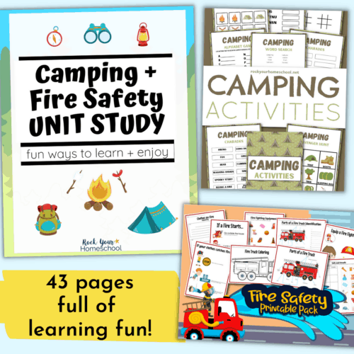 Enjoy special learning adventures with your kids using this Camping and Fire Safety Unit Study. So many cool ways to learn about these themes!