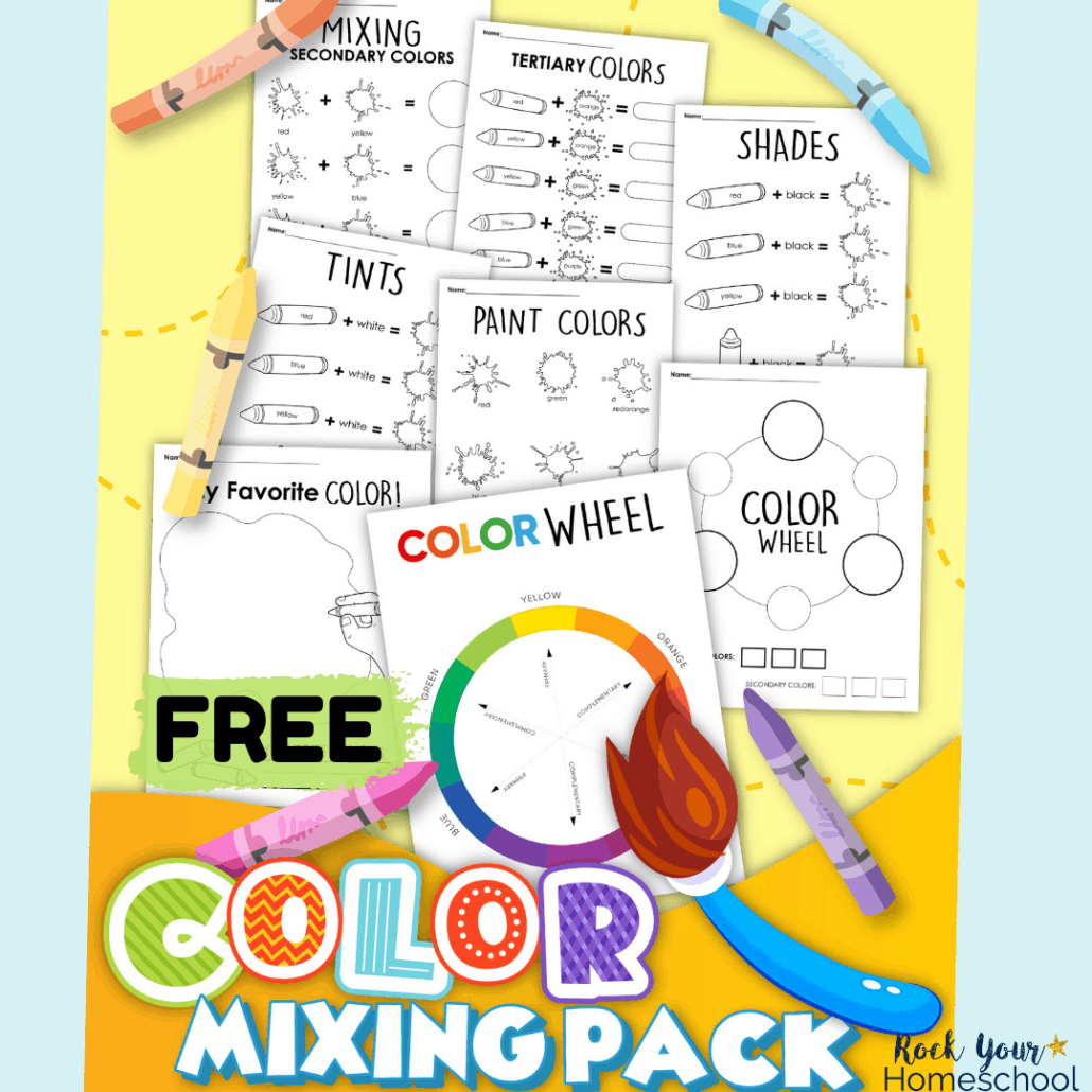This free coloring mixing activities pack is an excellent way to boost your art fun with kids.