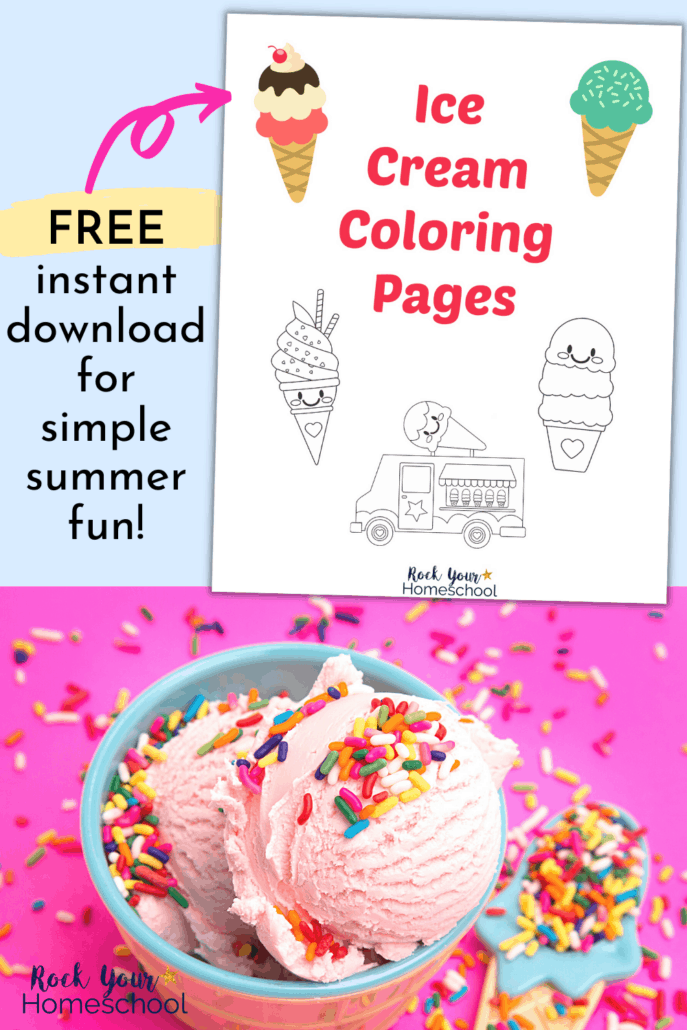 Ice cream coloring pages cover with strawberry ice cream in a bowl with rainbow sprinkles to feature the amazing summer fun you'll have with your kids with these free ice cream coloring pages