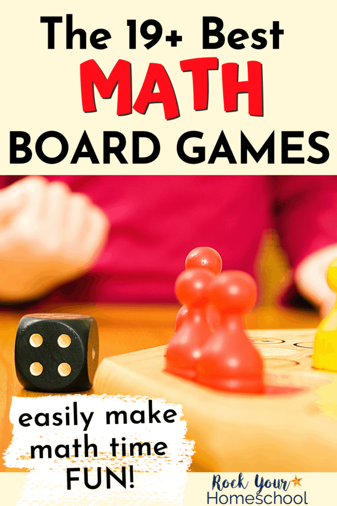 Child celebrating win with black die & gameboard & pieces to feature how this list of the 19 best math board games can help you make it a blast as kids learn and practice math skills and facts