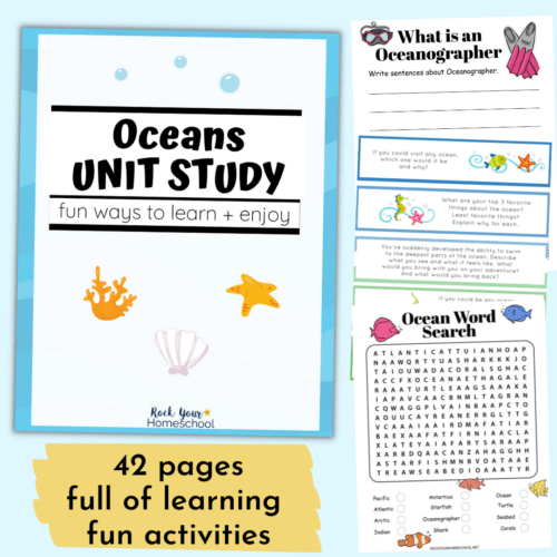 This oceans unit study is an outstanding way to enjoy creative learning fun with your kids. Enjoy super fun learning activities in a variety of subjects.