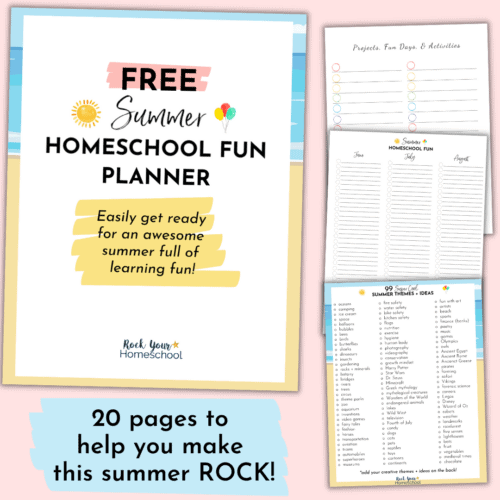 Easily make this summer epic by planning & preparing for amazing homeschool fun! This FREE Summer Homeschool Fun Planner has 20 pages to help you plan & prepare for sensational learning fun with your kids.