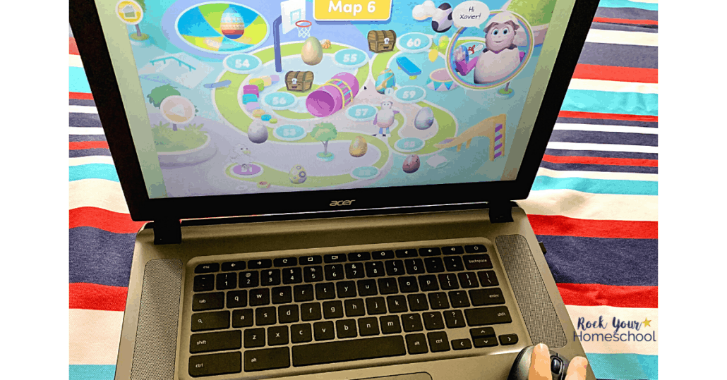 Your child enjoys an amazing learning adventure (with map!) when using Reading Eggs.