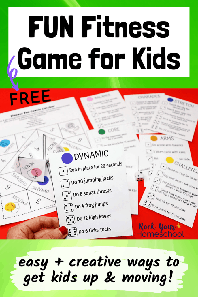 Woman holding fitness game card for dynamic exercises with free printable game cards & pieces in background with dice to feature the fantastic fitness fun your kids will have using this creative activity set