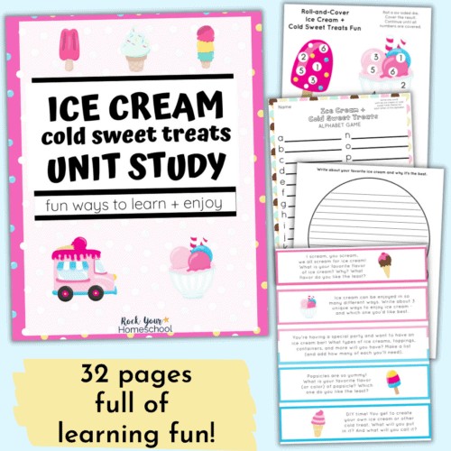 Enjoy some super cool learning fun with this Ice Cream Unit Study with activities & more.