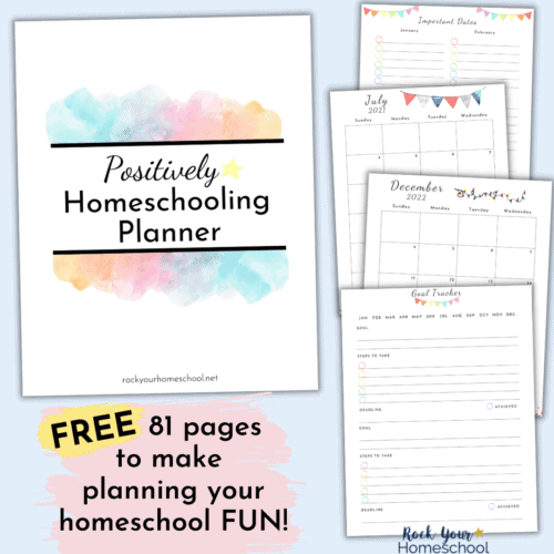 The Positively Homeschooling Planner is a free resource that helps make your homeschool planning fun. With 81 pages, you'll be able to get a successful start to your homeschool year.