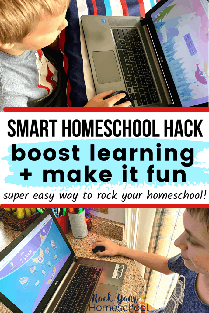 Young boy using online learning program on laptop and tween boy smiling while using laptop to feature how you can benefit from this smart homeschool hack featuring Reading Eggs