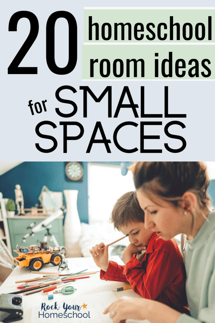 Mom working with her son at a desk with school supplies to feature how you can use these 20 creative homeschool room ideas for small spaces to make the most of the space you have for homeschooling