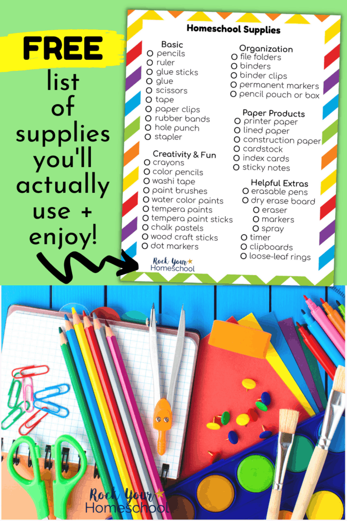 Homeschool supplies list and colorful school supplies to feature how you can use this free printable homeschool supplies list to get ready for and enjoy an amazing year