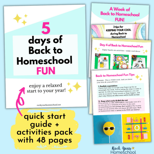 This quick start guide and activities pack for 5 days of Back to Homeschool Fun Activities will help you make it extra special.