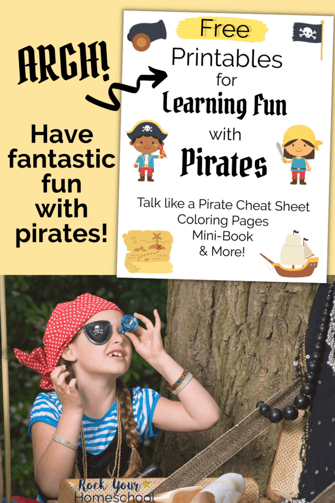 Learning Fun with Pirates printables cover and young girl dressed as pirate with pirate accessories to feature how you can use this free printable Learning Fun with Pirates pack