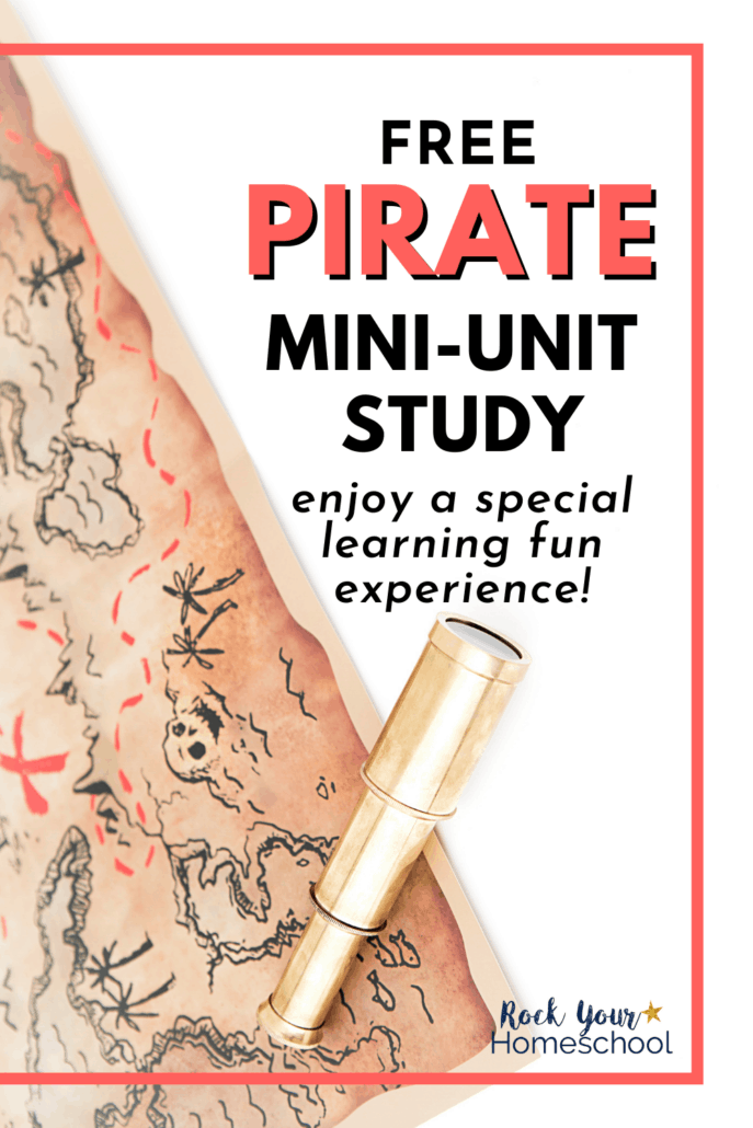 Pirate map with a nautical telescope to feature the amazing learning fun you'll have with your kids using this pirate mini-unit study