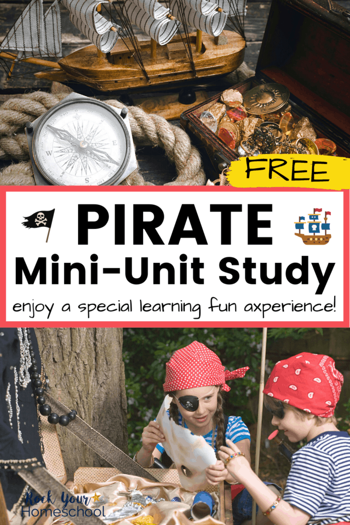 Mini-pirate ship, compass, treasure chest, and rope and kids dressed up like pirates with accessories and map to feature the awesome learning fun you'll have with this pirate mini-unit study
