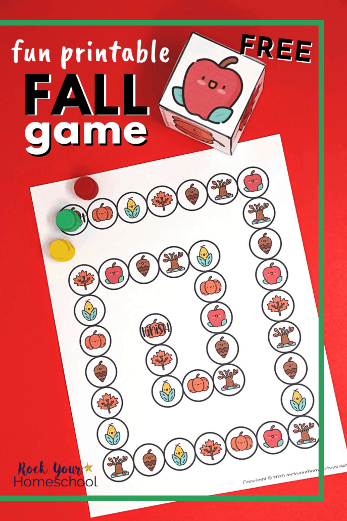 Fall game with custom die and game pieces to feature the fantastic fun you'll have with this simple free printable activity with autumn themes
