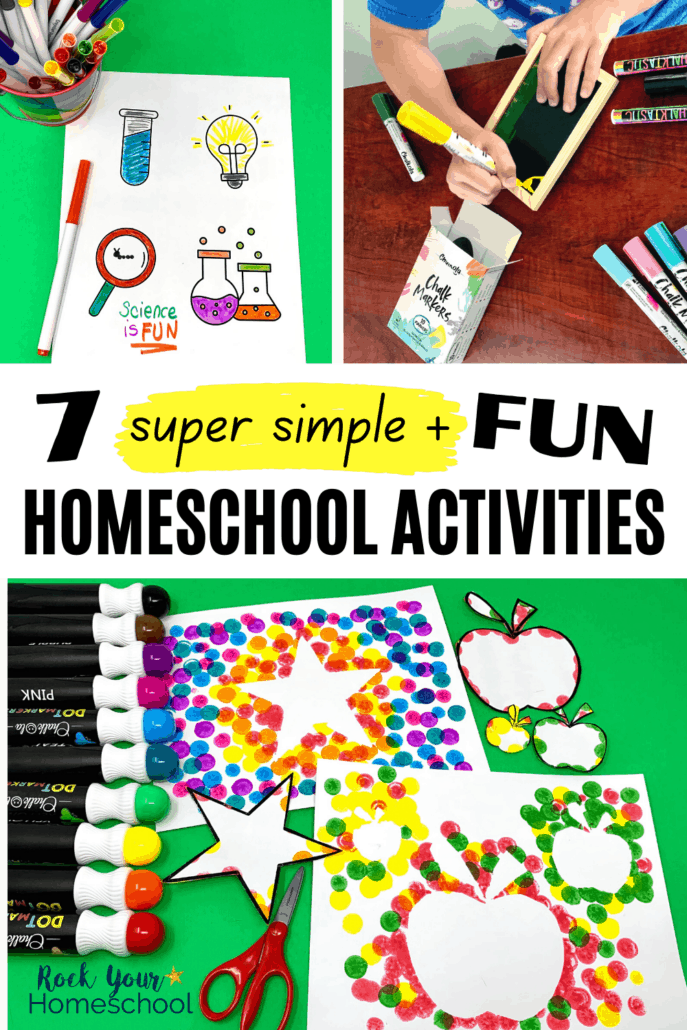 Back to homeschool science-themed coloring page with markers, boy using chalk markers on small chalkboard, and dot markers with star and apple templates to feature how you can enjoy fun homeschool activities with these cool art supplies