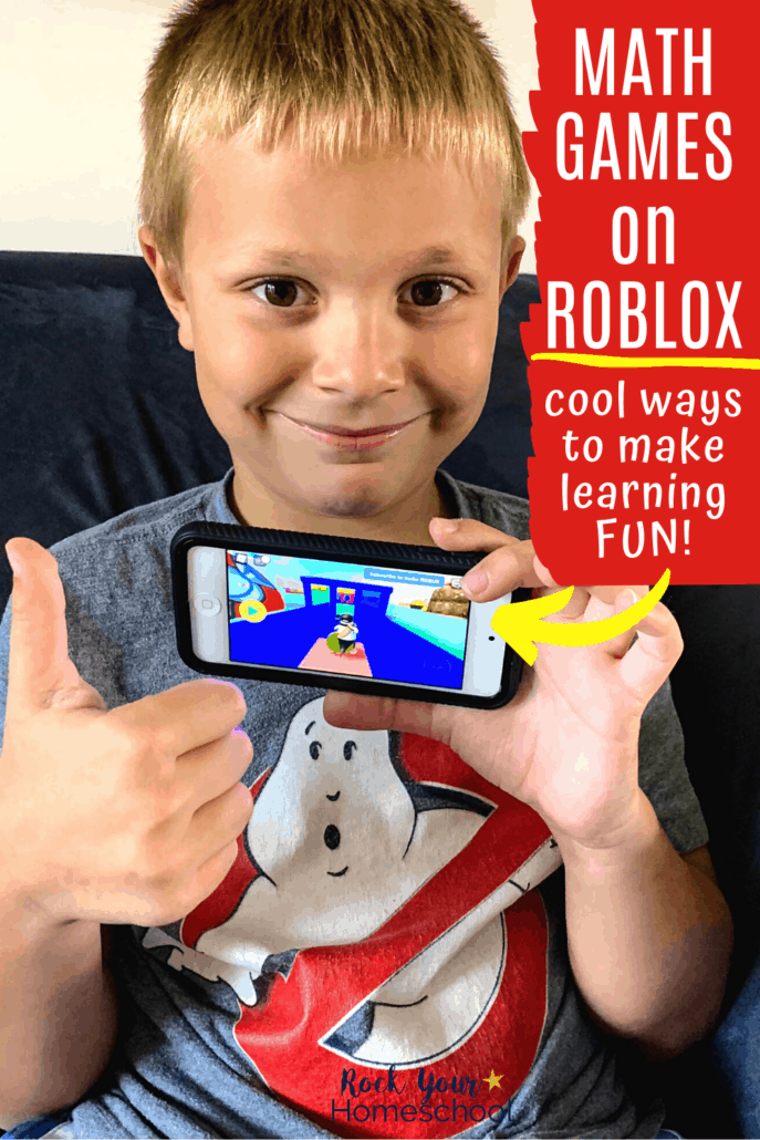 Young boy smiling and giving a thumbs-up as he holds an iPod with Brainika math games on Roblox to feature how you can make math time fun with these fun math games for kids