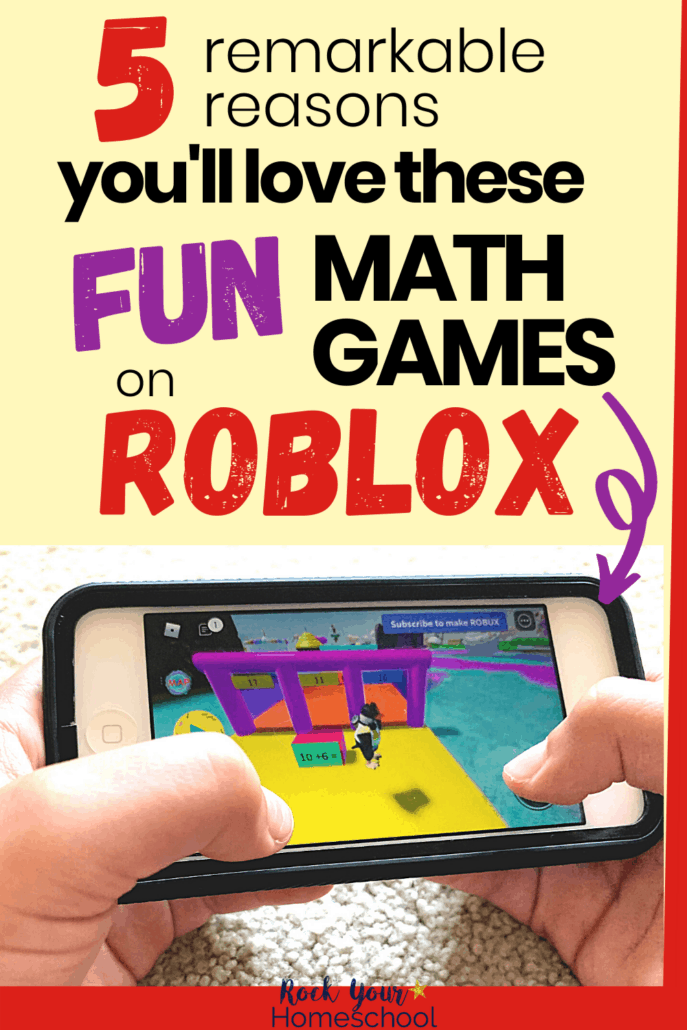 Young boy holding iPod with Brainika math game on Roblox to feature how you can use these fun math games for kids to help them learn as they play