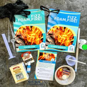 Fizz, Foam, Fire! homeschool science kit, part of Science Unlocked