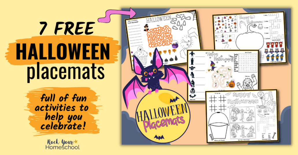 Grab this set of 7 free Halloween placemats for super fun holiday activities for your kids. Perfect for parties, classroom, homeschool, & more!