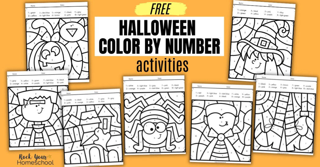 Grab this free set of Halloween color by number activities for simple holiday fun for kids. These printables are printer-friendly (black-and-white) and perfect for parties, classroom, homeschool, and more!