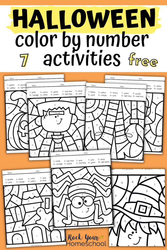 7 free Halloween color by number activities with jack o' lantern, cat, witch, haunted house, vampire, Frankenstein, witch feet, and spider to feature how you can use these printer-friendly (black-and-white) pages for simple yet special holiday fun for kids