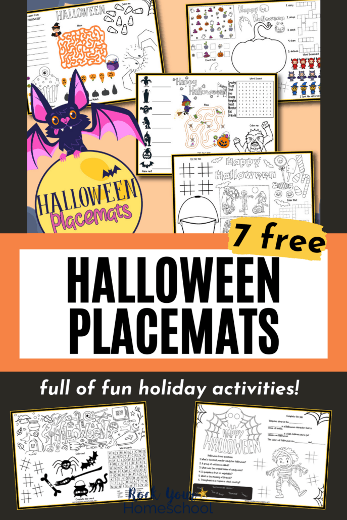 Halloween placemats featuring mazes, word searches, coloring, games, and more to show how you can use this set of 7 free Halloween printables for fun holiday activities for your kids