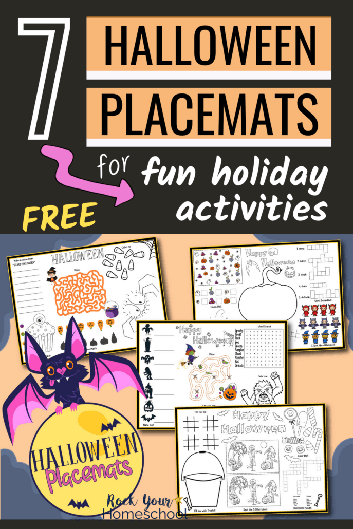 Halloween placemats featuring mazes, coloring, word searches, & more to show how you can use this free set of Halloween printable activities to boost your holiday celebration